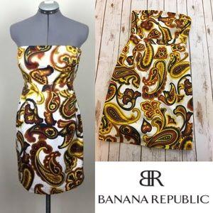 BANANA REPUBLIC Paisley strapless dress